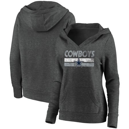 Dallas Cowboys Fanatics Branded Women's First String V-Neck Pullover Hoodie - Heathered Charcoal