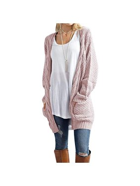 2a19cf82417 Product Image Women s Open Front Long Sleeve Boho Boyfriend Knit Chunky  Cardigan Sweater