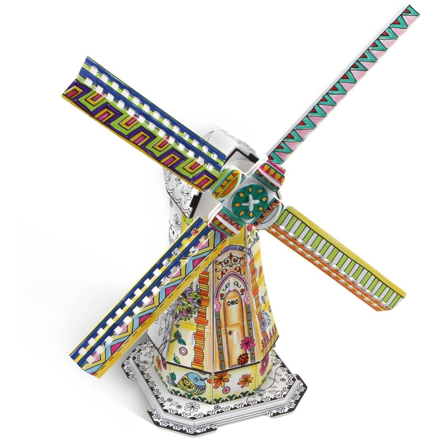 Image of Netherlands Windmill Coloring 3D Puzzle, 42-Pieces