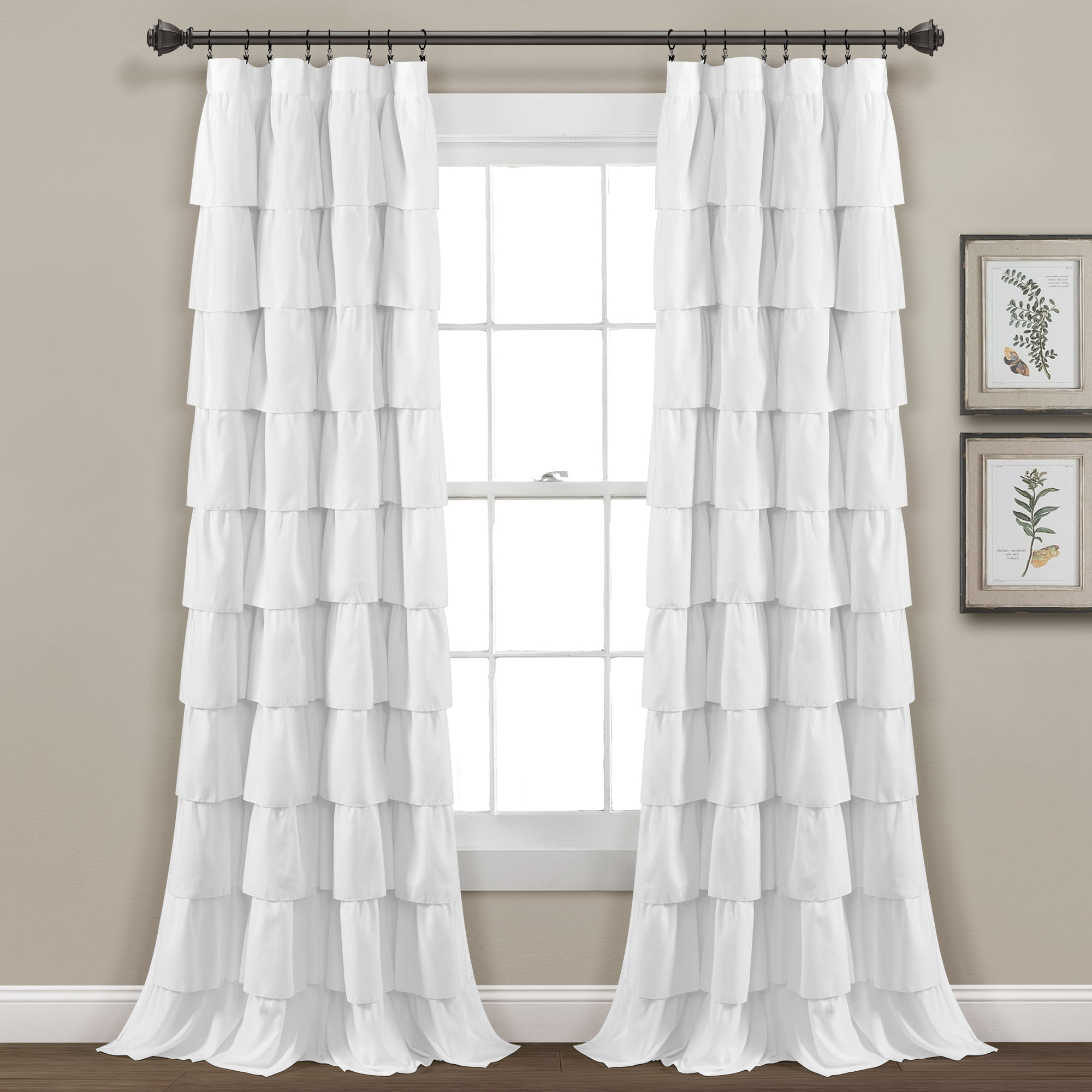 Ruffle Window Curtain White Single 50x84 - Walmart.com - Walmart.com
