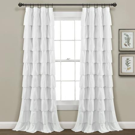 Ruffle Window Curtain White Single 50x84