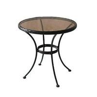 Woodard CM 227456 Sonoma Steel & Glass Bistro Table with Woven Rim, 27.17 x 25 x 25 in.
