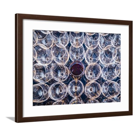 USA, Washington State, Seattle. One glass of red wine in a row of wine glasses. Framed Print Wall Art By Richard Duval
