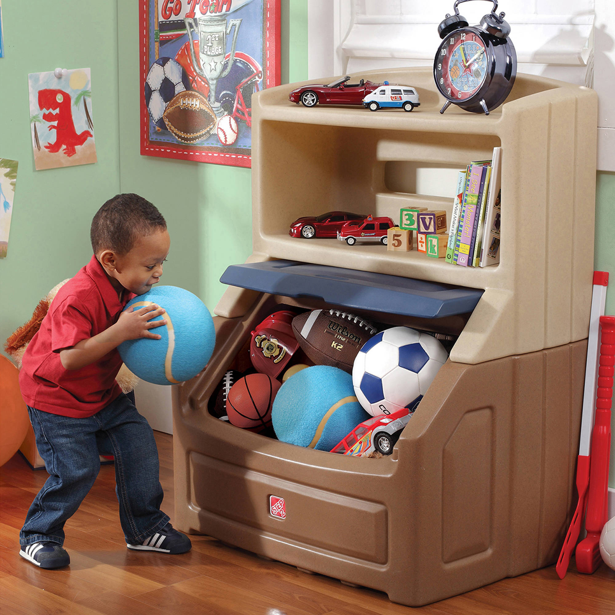 step2 lift & hide bookcase with kids storage bin and toy