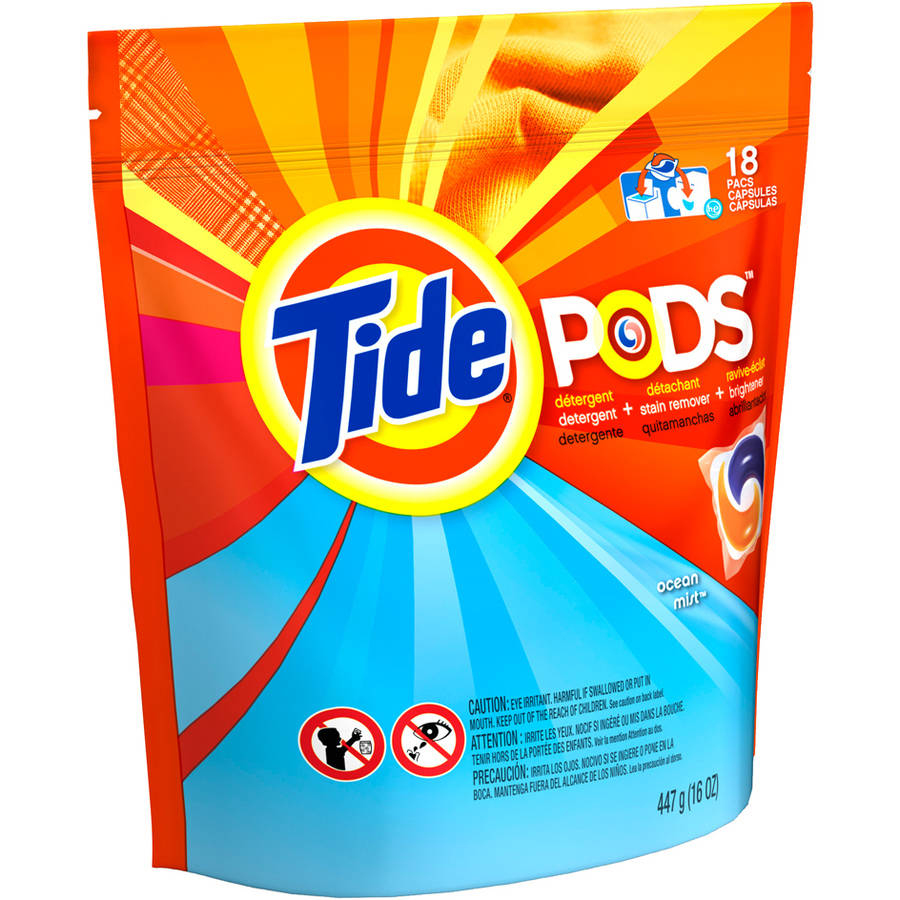 Tide PODS Ocean Mist Scent Laundry Detergent, 18 Loads, 18 count