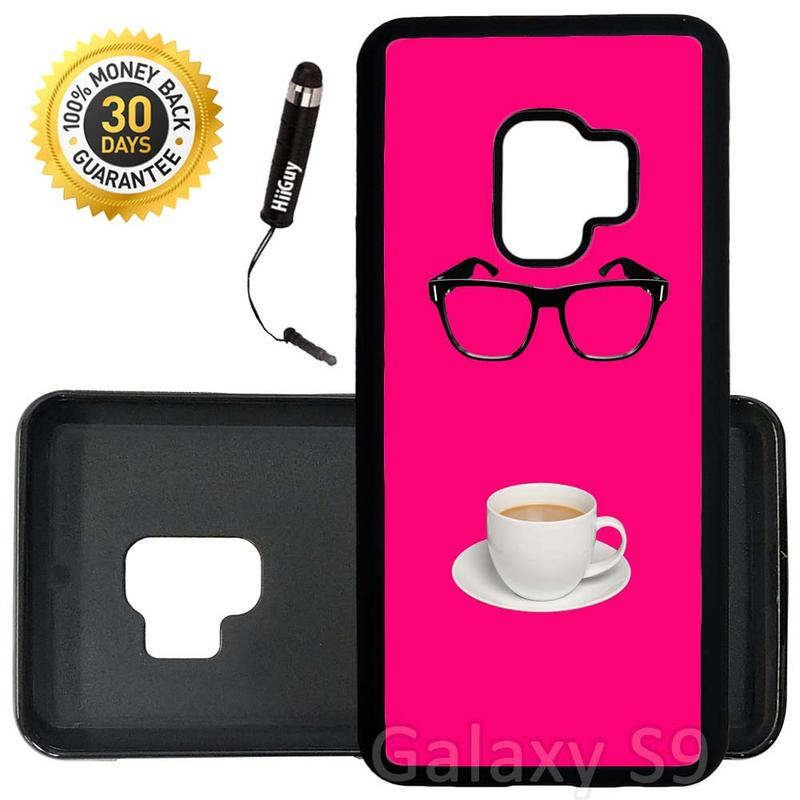 Custom Galaxy S9 Case (Glasses and a Cup of Coffee) Edge-to-Edge Rubber Black Cover Ultra Slim | Lightweight | Includes Stylus Pen by Innosub