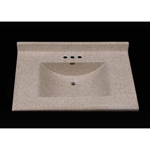 Satin Stone Center Wave 31'' Single Bathroom Vanity Top