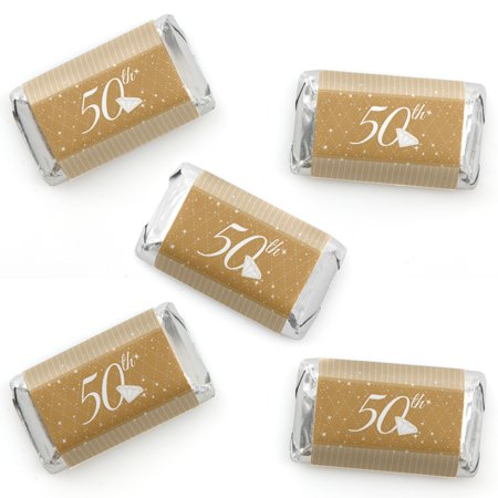 50th Anniversary - Mini Candy Bar Wrapper Stickers - Wedding Anniversary Party Small Favors - 40 - Favors For 50th Wedding Anniversary