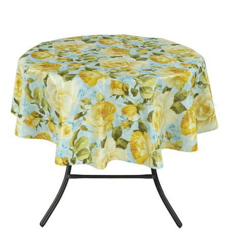 Ottomanson Vinyl Yellow Rose Design Indoor & Outdoor Tablecloth with Non-Woven Backing