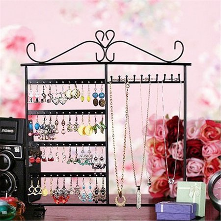 White/Pink/Black Earrings Necklace Ear Studs Jewelry Tree Display Show Metal Stand Rack Organizer Holder ()