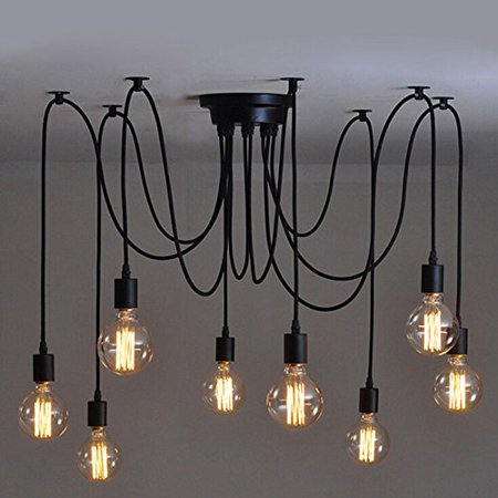 Vintage Industrial Hanging Chandelier Lighting Edison Light Bulb Lamp E27 Spider Ceiling Pendant Bulbs 8 Heads for Dining Room Coffee Shop Theme Restaurant Hall (light bulb is not - Ceiling Lamps Shop