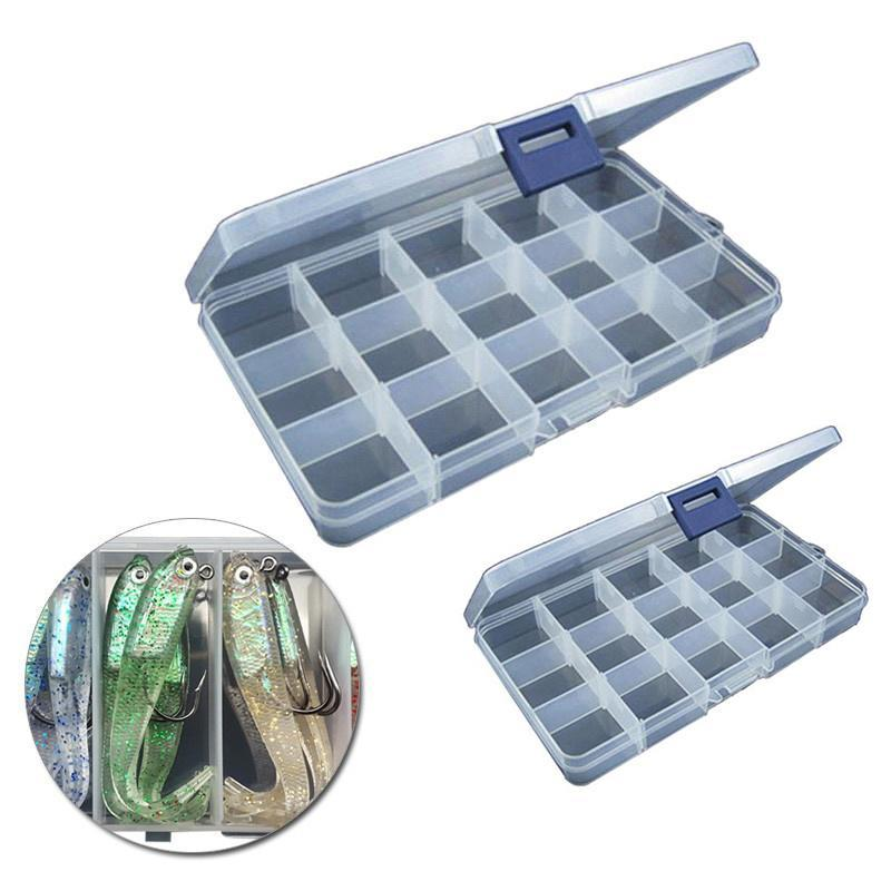 Transparent 15 Slots Organizer Fishing Lure Box Adjustable Plastic Hook Tackle Box Storage Case Organizer Caroj - image 1 de 7