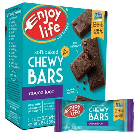 (2 Pack) Enjoy Life Soft Baked Chewy Bars Cocoa Loco, 1.15 Oz, 5 -