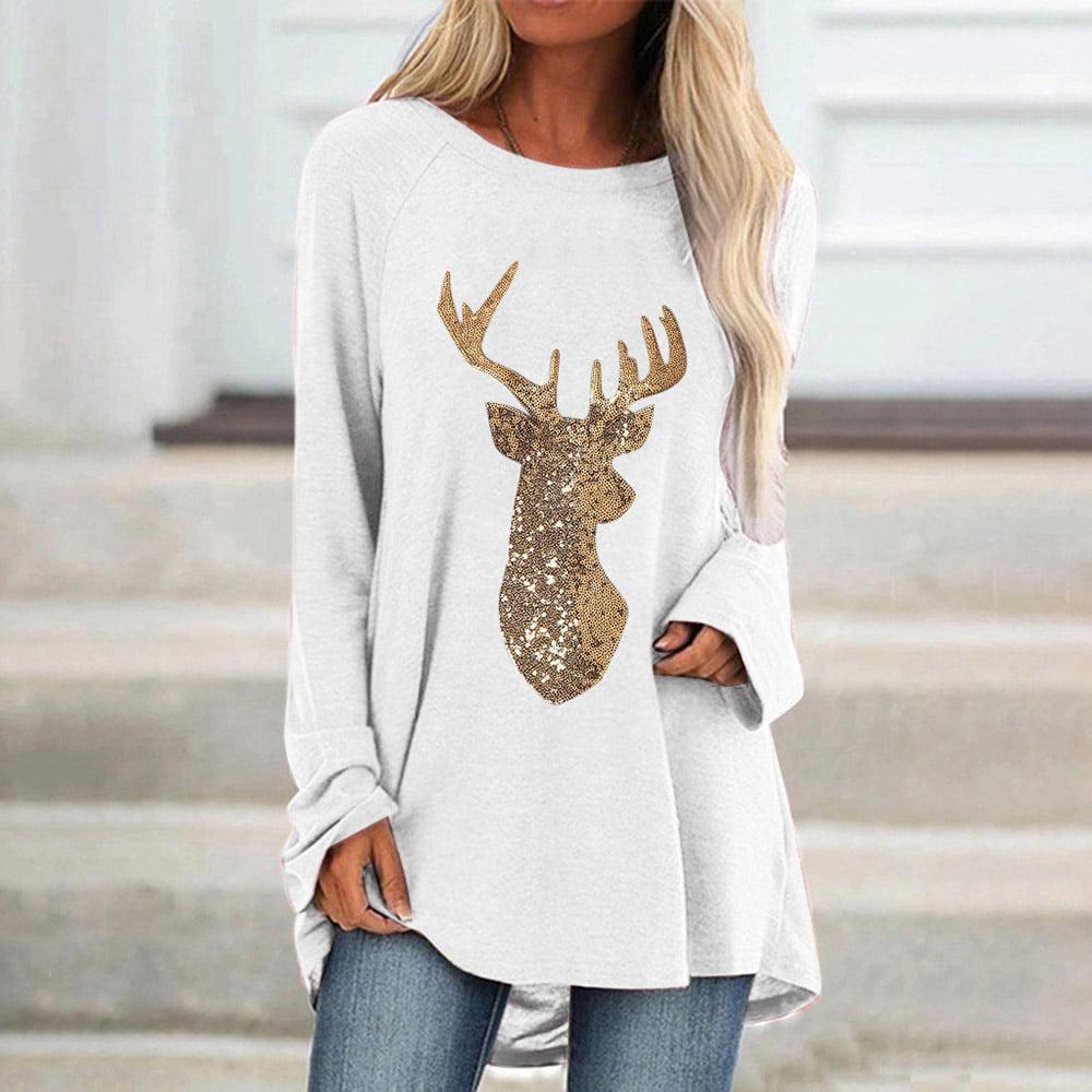 HDGTSA Women Tunic Tops Plus Size Sequin Elk Round T-Shirt Neck Long Sleeved Blouse