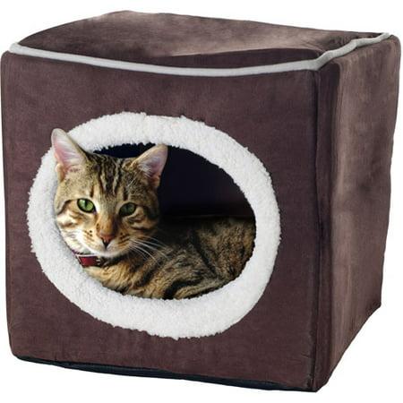 Petmaker, Cozy Cube, Cat Bed, Dark Brown, 13-in