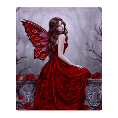 CafePress - Winter Rose Butterfly Fairy - Soft Fleece Throw Blanket, 50