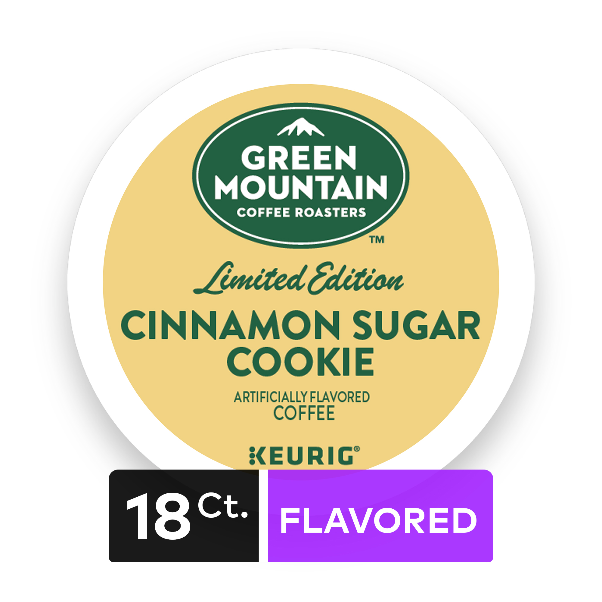Green Mountain Coffee Cinnamon Sugar Cookie, Flavored Keurig K-Cup Pods, Light Roast, 18 Count
