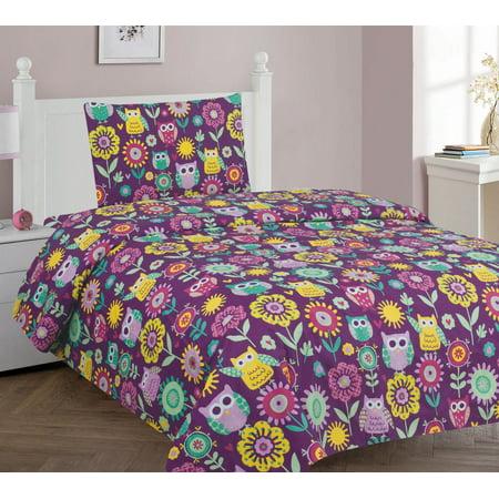 Golden linens Twin Size 3 Pieces ( 1pc Flat Sheet, 1 Fitted Sheet & 1 pillow Case) Purple Owl Flower Printed New Designs Kids Bed Sheet Set# Owl Twin Sheet