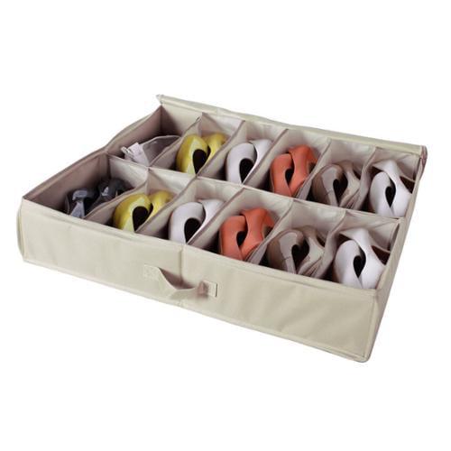 StorageManiac  12-Pair Underbed Shoe Organizer 12-Compartment Sturdy Underbed Storage Bag Shoe Bag