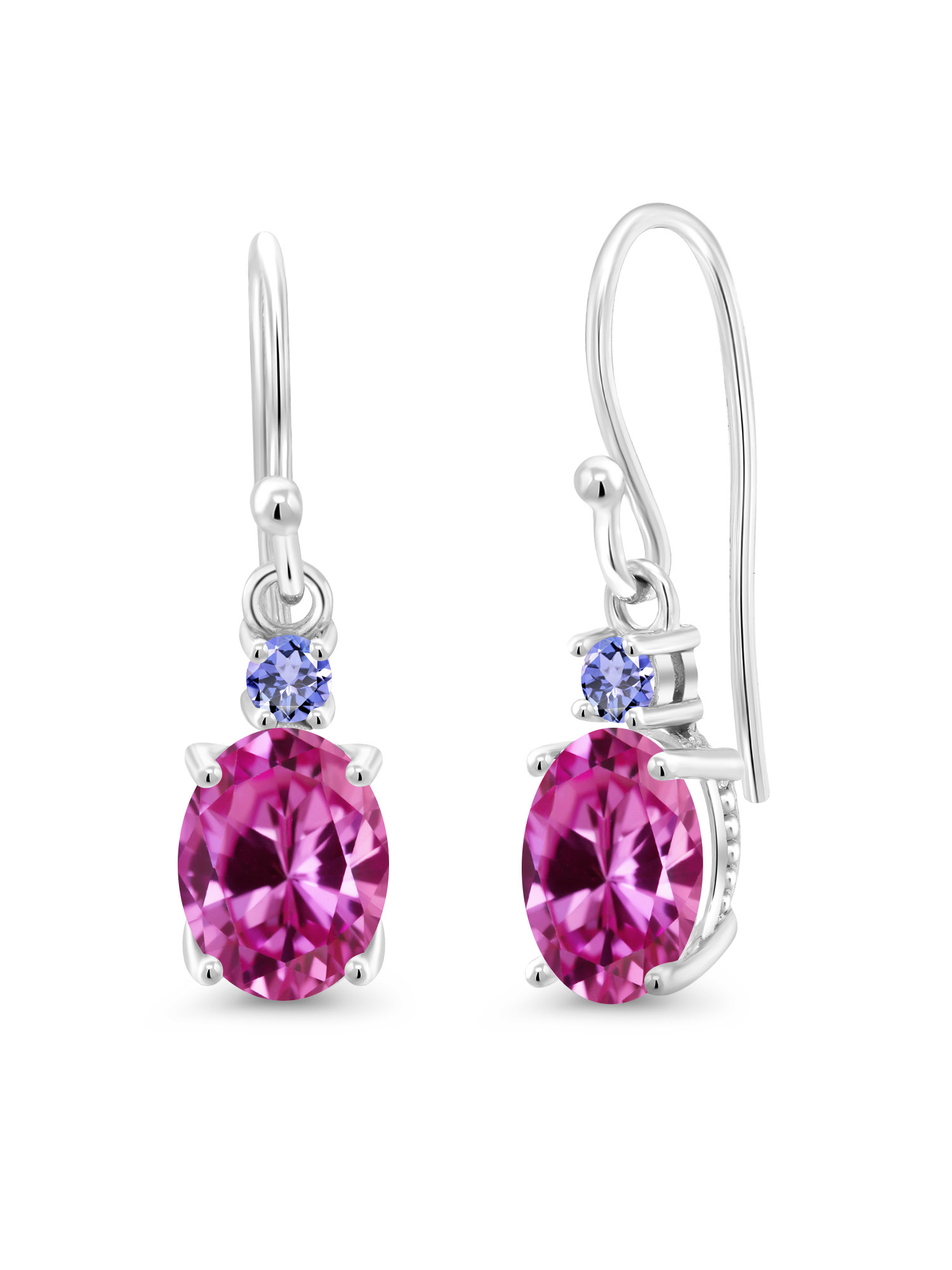 3.46 Ct Oval Pink Created Sapphire Blue Tanzanite 10K White Gold Earrings by