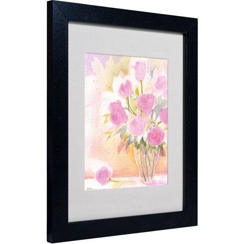 "Trademark Fine Art ""Vase with Pink Roses"" Matted Framed Art by Sheila Golden"