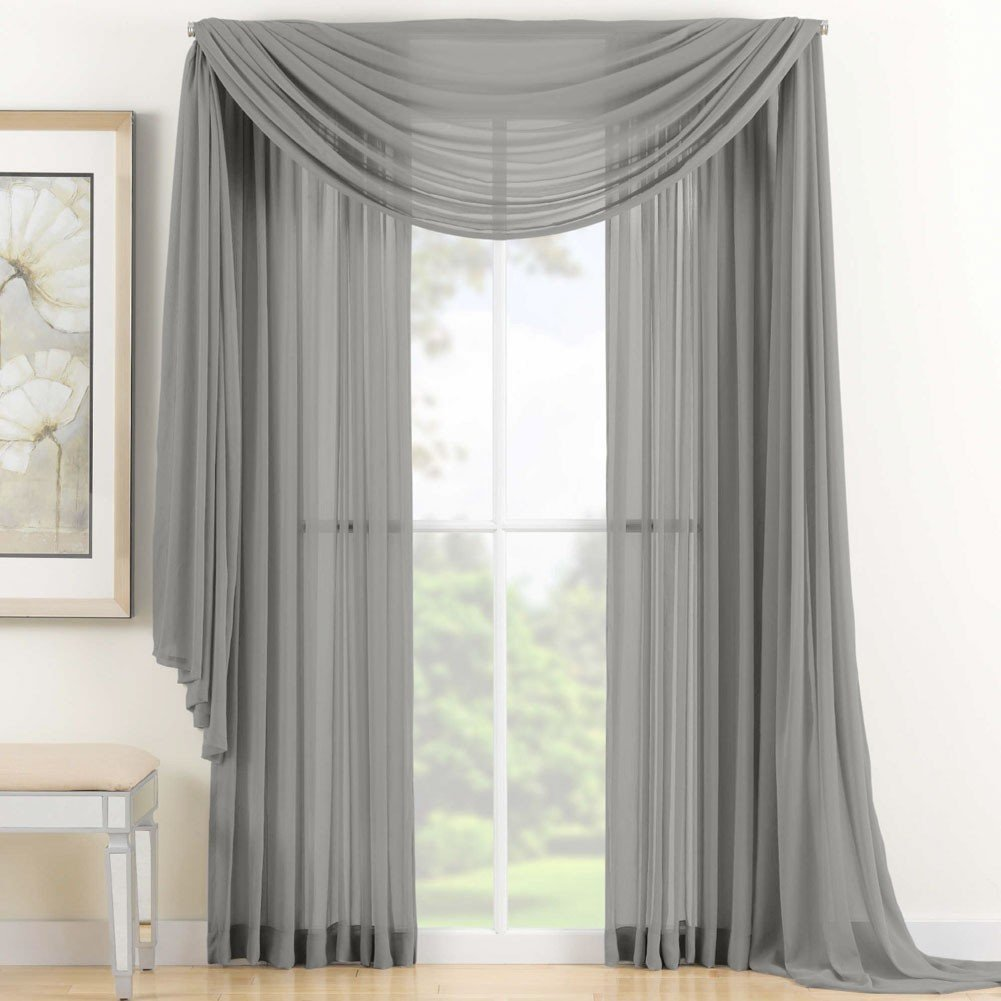 3 Piece Silver Grey Sheer Voile Curtain Panel Set: 2 Purple Panels and 1 Scarf� by