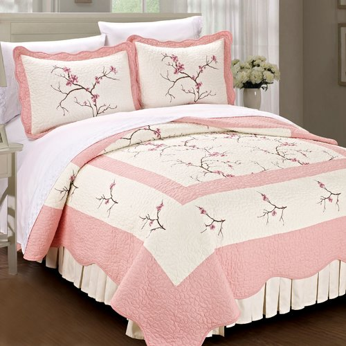 Serenta Cherry Blossom 3 Piece Quilt Set
