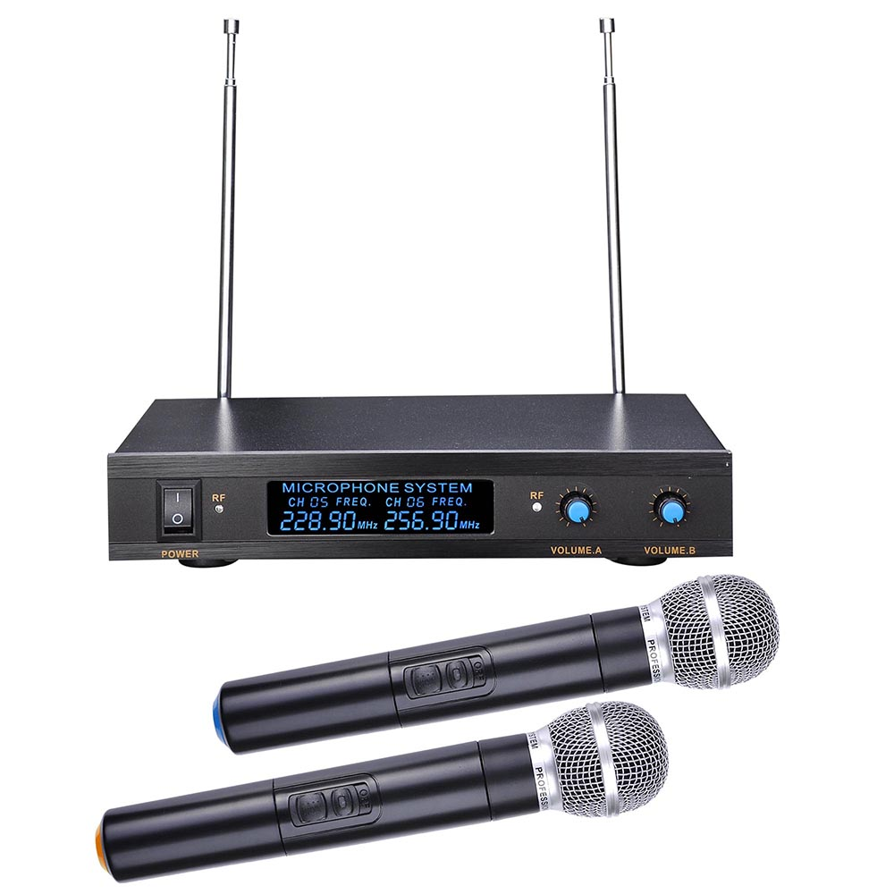 "2 Channel VHF Handheld Wireless Microphone System LCD Display 1/4""Audio Cable Show Party Singer"