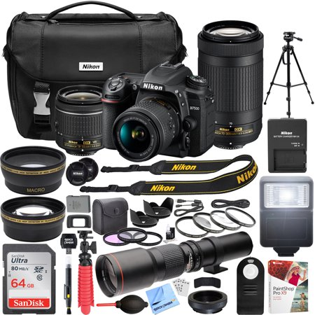 Nikon D7500 4K Ultra HD DSLR Camera with AF-P DX 18-55mm f/3.5-5.6G VR and 70-300mm f/4.5-6.3G ED Dual Zoom Lens Kit + 500mm Preset f/8 Telephoto Lens + 0.43x Wide Angle, 2.2x Pro