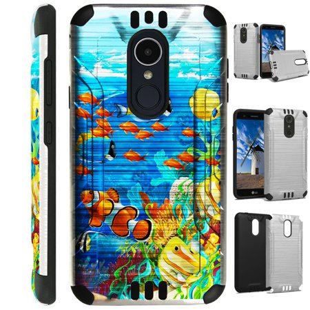 Silver Reef (For LG Rebel 3 | LG Rebel 4 Case Brushed Metal Texture Hybrid TPU Silver Guard Phone Cover (Ocean Reef)