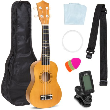 Best Choice Products 21in Beginner Basswood Ukulele Starter Kit with Nylon Carrying Case, Strap, Picks, Cloth, Clip-On Tuner, Extra String (Light (Herco Ukulele)