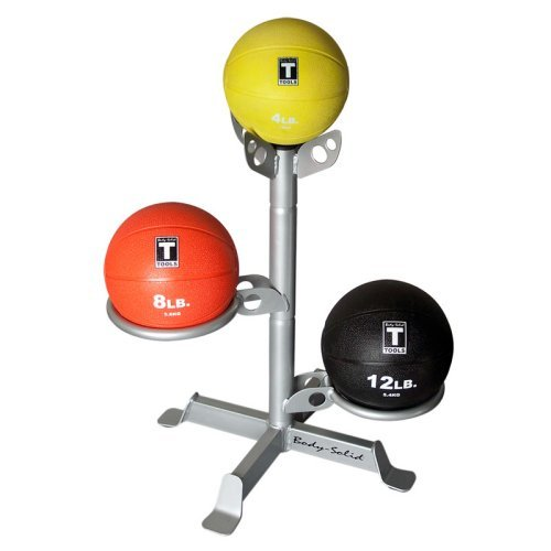 Body-Solid Medicine Ball Package with 3 Medicine Balls and Rack