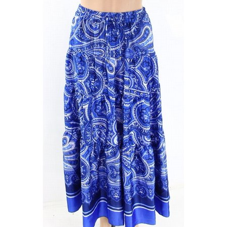 Lauren by Ralph Lauren Women Large Printed Tiered Maxi Skirt