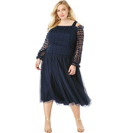 Roaman\'s Plus Size Lace Overlay Dress With Cold-shoulder Detail