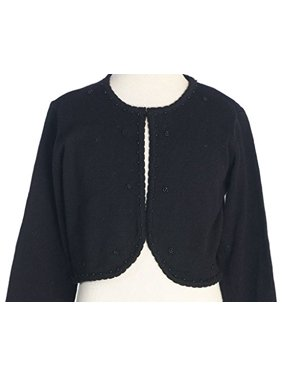 Little Girls Beaded Knit Cotton Bolero Shrug Sweater Black Size L (8-10)