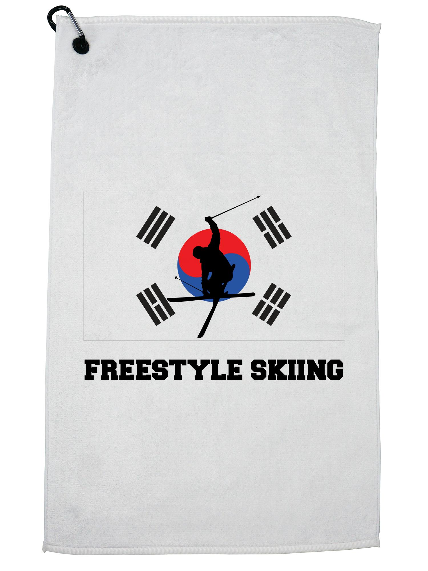 South Korea Olympic Freestyle Skiing Flag Silhouette Golf Towel with Carabiner Clip by Hollywood Thread