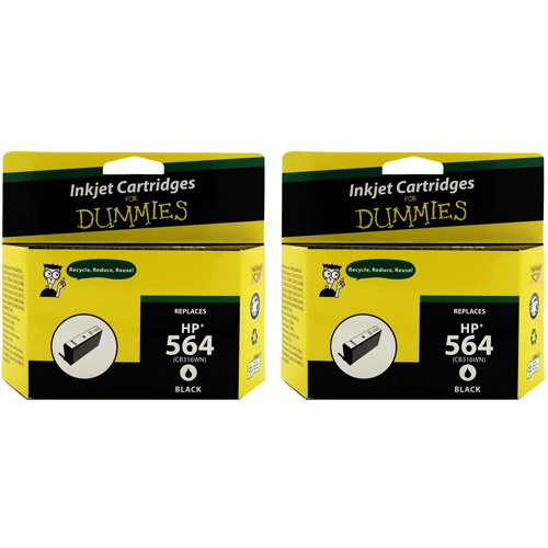 For Dummies Remanufactured HP 564 Black Inkjet Cartridge, 2-Pack