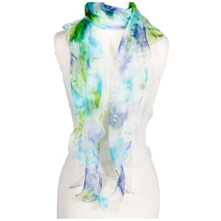 Women's Laies Fshion Long Floral Ruffle Silk Scarf Neck Scarves Shawl Wrap