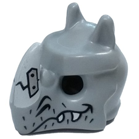 LEGO Rhinoceros Mask with Fangs, Stubble and Cracked White Horn Loose Accessory