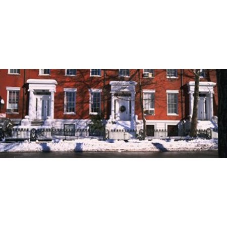Facade of houses in the 1830s Federal style of architecture Washington Square New York City New York State USA Canvas Art - Panoramic Images (30 x 12)