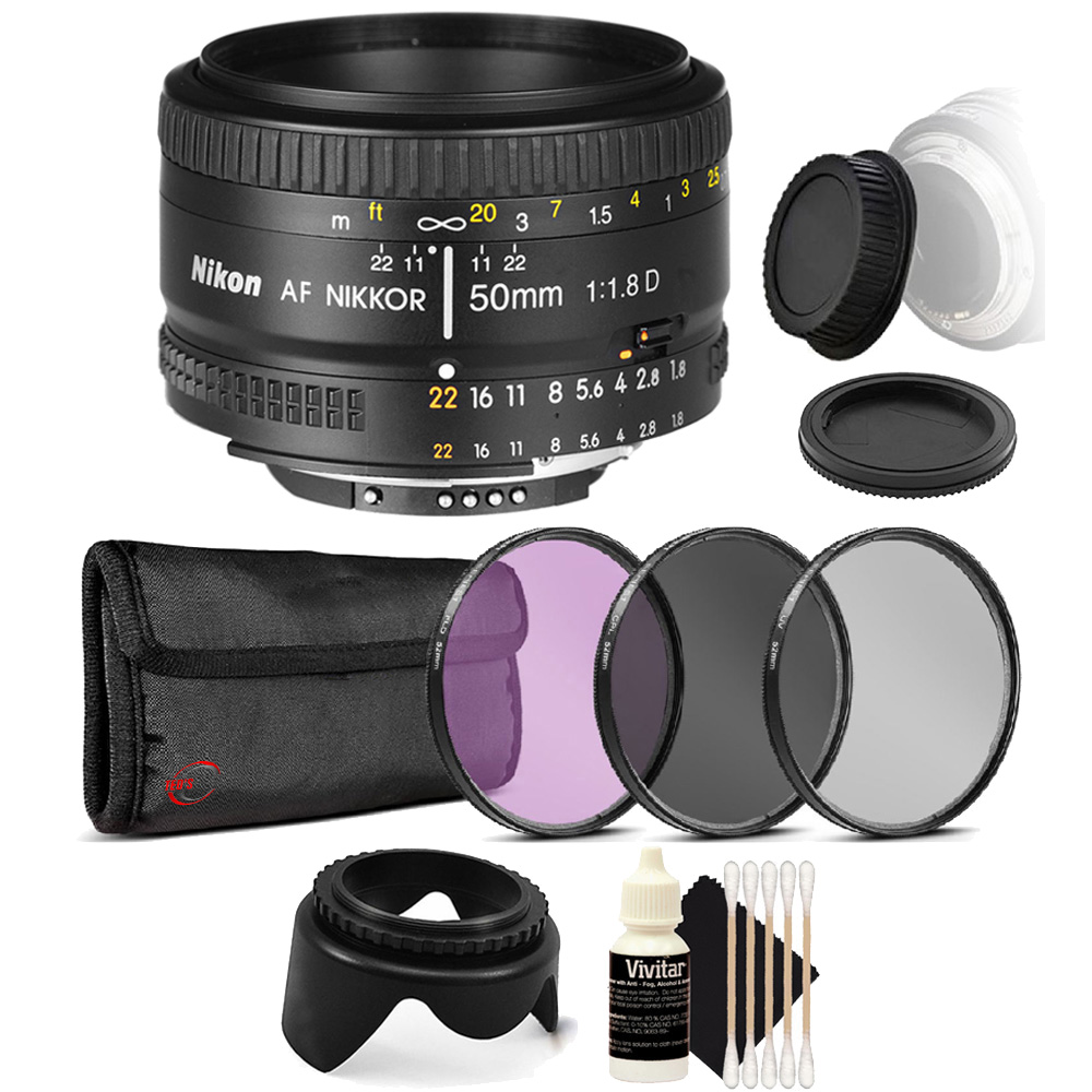 Nikon AF FX NIKKOR 50mm f/1.8D Prime Lens For Nikon Digital SLR Cameras with UV CPL FLD Filters + Cleaning Tools for Lens