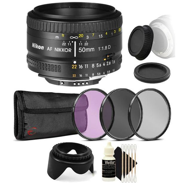Nikon AF FX NIKKOR 50mm f/1.8D Prime Lens For Nikon Digital SLR Cameras with UV CPL FLD Filters + Cleaning Tools for Lens