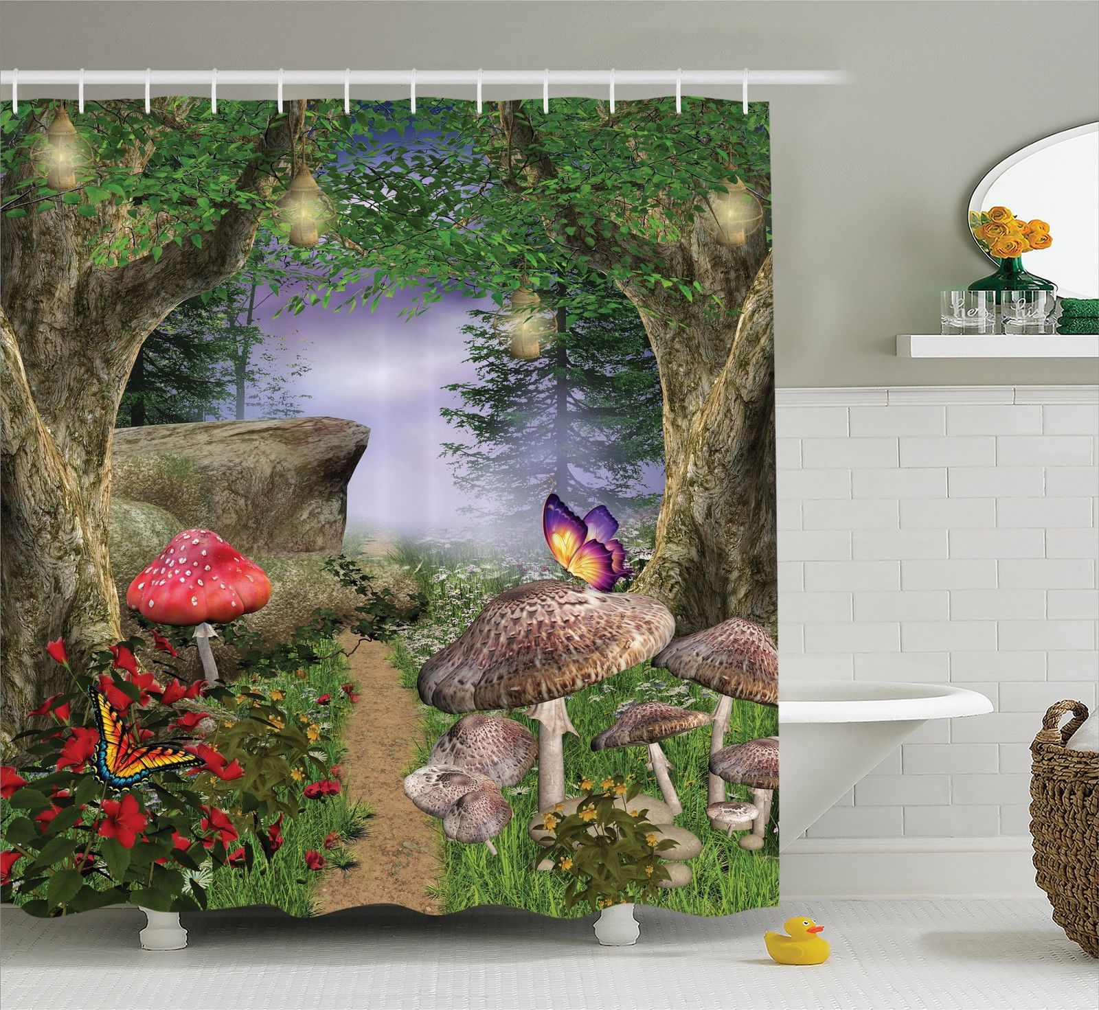 Mushroom Decor Shower Curtain Set, Enchanted Nature Pathway Butterflies  Fairytale Landscape Rocks Street, Bathroom