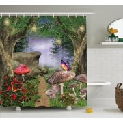 Mushroom Decor Shower Curtain Set, Enchanted Nature Pathway Butterflies Fairytale Landscape Rocks Street, Bathroom Accessories, 69W X 70L Inches, By Ambesonne