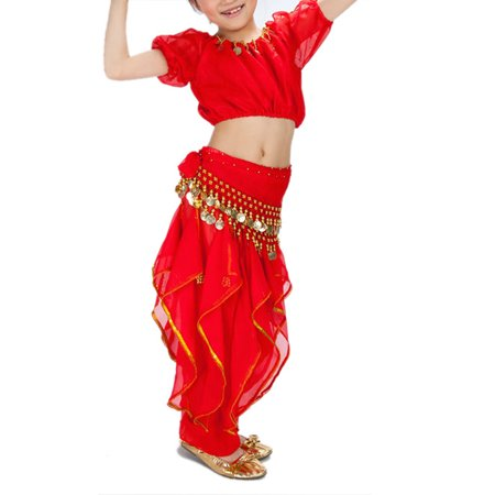 BellyLady Kid Belly Dance Halloween Costume, Harem Pants & Short Sleeve Top Set-Red-M (Belly Dancers Costumes Halloween)
