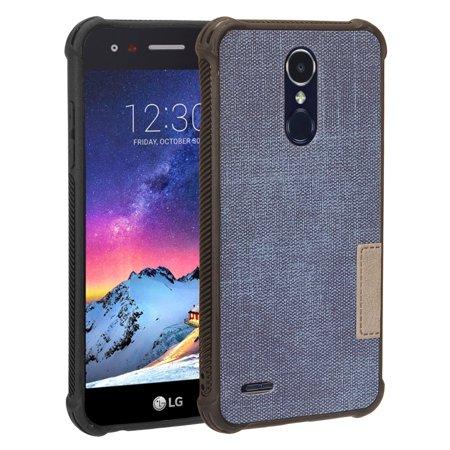 LG Phone Case Hybrid Heavy Duty Protection [PC TPU Denim] Shockproof Rubber Silicone [Slim Shield Bumper] Cover DARK Denim for LG Aristo 2 /Zone 4 /Fortune 2 /Risio 3 /K8 /K8 Plus (2018)