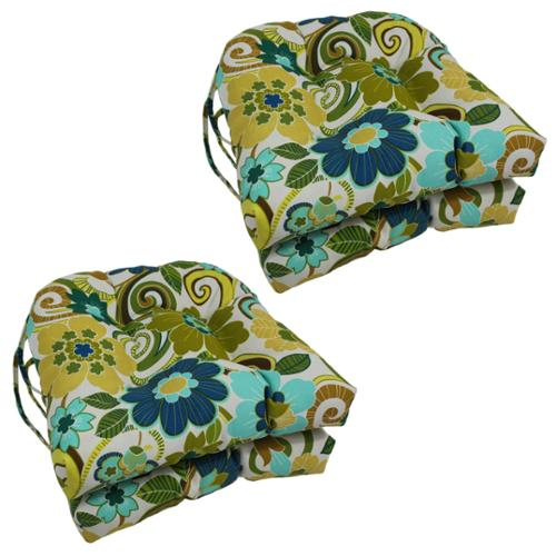 Blazing Needles Floral/ Stripe U-shaped 16-inch Outdoor Chair Cushions (Set of 4) Alenia Spice (REO-39)