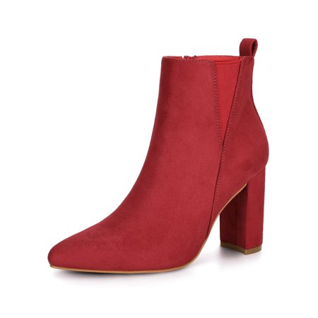 Women's Pointed Toe Zipper Block Heel Red Ankle Boots - 8 M US - image 1 of 1