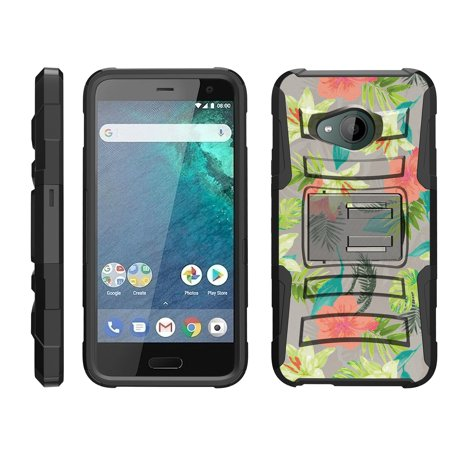 TurtleArmor ® | For HTC U11 Life [Hyper Shock] Hybrid Dual Layer Armor Holster Belt Clip Case Kickstand - Hawaiian (Htc U11 Best Price)