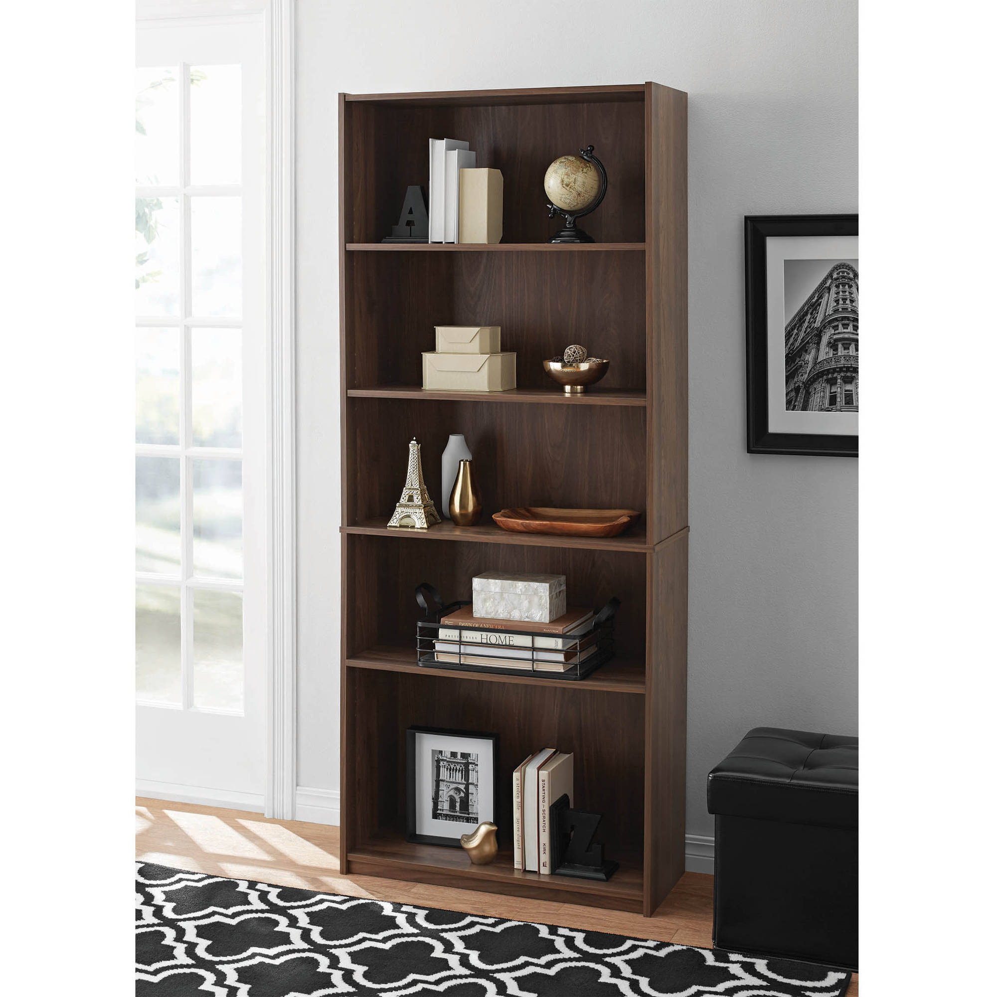 mainstays 5 shelf wood bookcase storage furniture bookshelf walnut